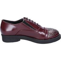 Zapatos Mujer Derbie Francescomilano elegantes burdeos cuero borchie BX326 rojo