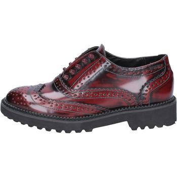 Zapatos Mujer Derbie Francescomilano elegantes burdeos cuero BX331 rojo