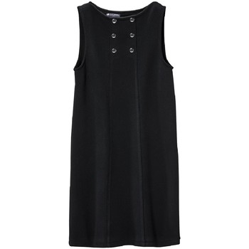 textil Mujer Vestidos cortos Petit Bateau Robe Femme 3 Boutons en Molleton Fleece Noir Negro