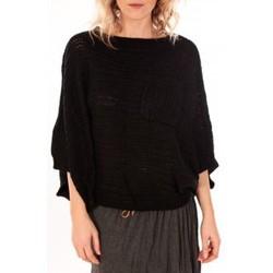textil Mujer Jerséis De Fil En Aiguille Pull Poncho Sophyline T-1614 Noir Negro