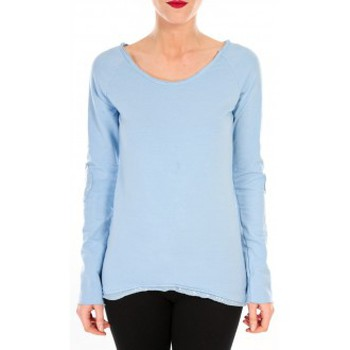 textil Mujer Camisetas manga larga By La Vitrine T-shirt Empiècement Pailleté 2119 Bleu Azul