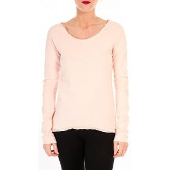 textil Mujer Camisetas manga larga By La Vitrine T-shirt Empiècement Pailleté 2119 Rose Poudre Rosa