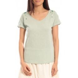textil Mujer Camisetas manga corta Blune T-shirt Larmes de Joie LJ-TF01E13 Vert Verde