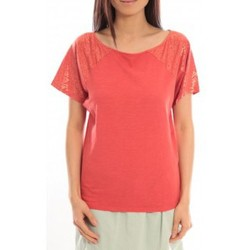 textil Mujer Camisetas manga corta Blune T-Shirt Pointilleuse PO-TF02E13 Rouge Rojo