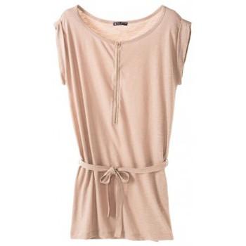 textil Mujer Vestidos cortos Petit Bateau Petit Bauteau Robe femme en jersey flammé 32992 09 Beige Rosa