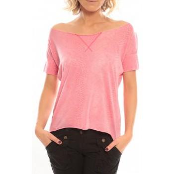textil Mujer Camisetas manga corta So Charlotte Tight short sleeves Tee all snake T53-406-00 Rose Rosa
