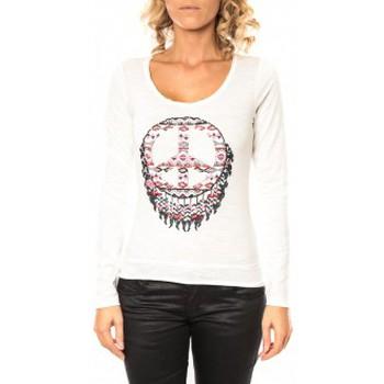 textil Mujer Camisetas manga larga Sweet Company Tee shirt Peace Blanc Blanco