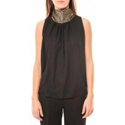 textil Mujer Camisetas sin mangas Tcqb Top Paillettes Dorées 114-70 Noir Negro