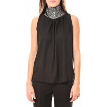 textil Mujer Camisetas sin mangas Tcqb Top Paillettes Argentées 114-70 Noir Negro