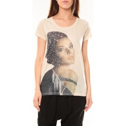 textil Mujer Camisetas manga corta Tcqb Tee shirt Y-0008 Beige Beige