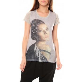 textil Mujer Camisetas manga corta Tcqb Tee shirt Y-0008 Gris Gris