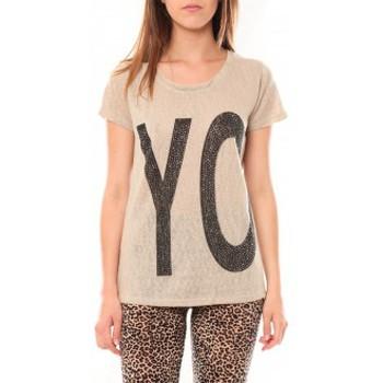 textil Mujer Camisetas manga corta Tcqb Tee shirt SL1511 Beige Beige