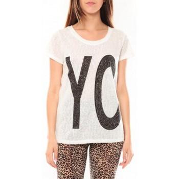 textil Mujer Camisetas manga corta Tcqb Tee shirt SL1511 Blanc Blanco