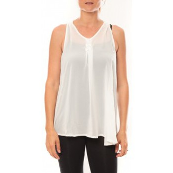 textil Mujer Camisetas sin mangas De Fil En Aiguille Débardeur may&co 882 Blanc Blanco