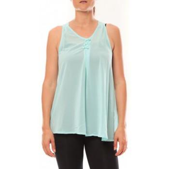 textil Mujer Camisetas sin mangas De Fil En Aiguille Débardeur may&co 882 Turquoise Azul