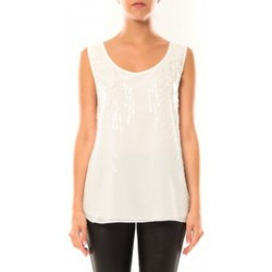 textil Mujer Camisetas sin mangas De Fil En Aiguille Débardeur Victoria & Karl MX0660 Blanc Blanco