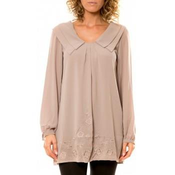 textil Mujer Camisas Vision De Reve Vision de Rêve Chemisier Col Claudine IP11013 Taupe Marrón