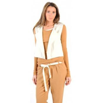 textil Mujer Chaquetas de punto American Vintage GILET LEA134 NATUREL Beige
