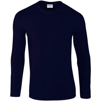 textil Hombre Camisetas manga larga Gildan 64400 Azul marino