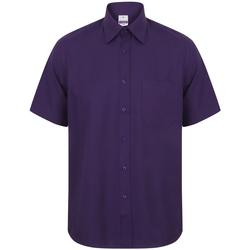 textil Hombre Camisas manga corta Henbury HB595 Púrpura