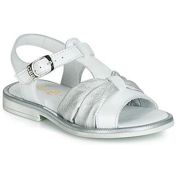 Zapatos Niña Sandalias GBB MESSENA Blanco / Plata