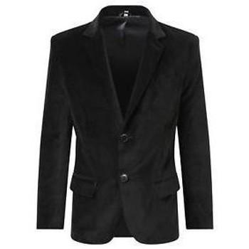 textil Abrigos De La Creme - Blazer Casual Formal de Terciopelo de Lujo para Hombre Black