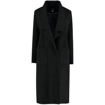 textil Mujer Abrigos De La Creme - Abrigo largo de lana sintética de invierno para mujer negra Black