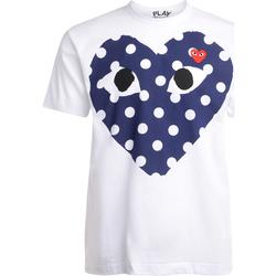 textil Hombre camisetas manga corta Comme Des Garcons T-Shirt  bianca con cuore blu a pois Blanco