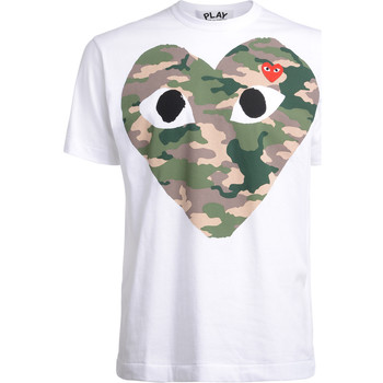 textil Hombre camisetas manga corta Comme Des Garcons Camiseta  con corazón camuflaje Blanco