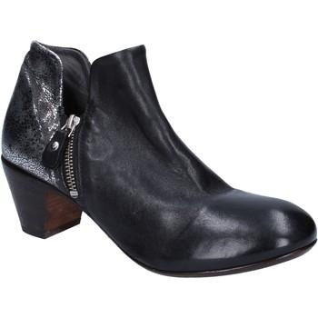 Zapatos Mujer Botines Moma botines negro cuero plata BT38 negro
