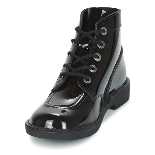 Caña Kickers Mujer Botas Col Baja NegroBarniz Zapatos De Kick 0vwONnym8