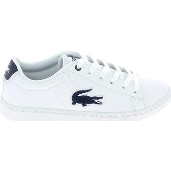 Zapatos Niños Zapatillas bajas Lacoste Carnaby Evo C Blanc Bleu Blanco