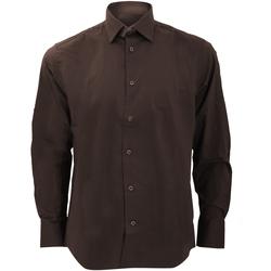 textil Hombre Camisas manga larga Russell 946M Marrón chocolate
