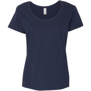 textil Mujer Camisetas manga corta Gildan 64550L Azul marino