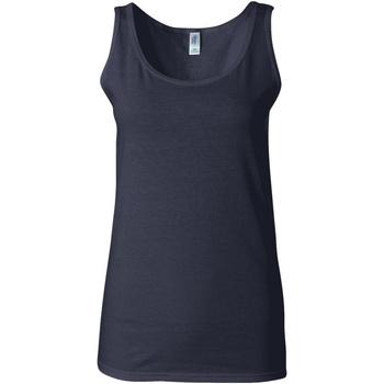 textil Mujer Camisetas sin mangas Gildan 64200L Azul marino