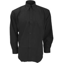 textil Hombre Camisas manga larga Kustom Kit KK351 Negro