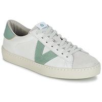 Zapatos Hombre Zapatillas bajas Victoria BERLIN PIEL CONTRASTE Blanco / Verde