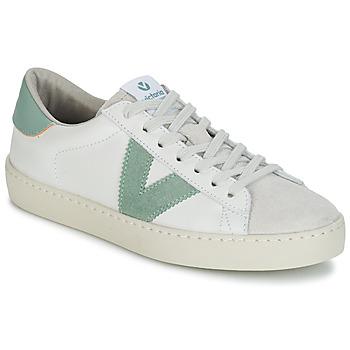 Zapatos Mujer Zapatillas bajas Victoria BERLIN PIEL CONTRASTE Blanco / Verde