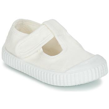 Zapatos Niños Bailarinas-manoletinas Victoria SANDALIA LONA TINTADA Blanco